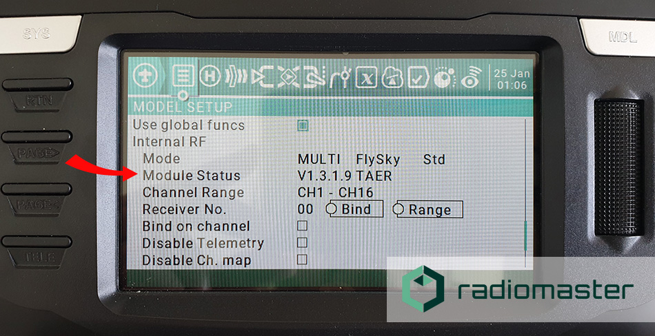 How to update the internal MultiModule on the RadioMaster TX16s