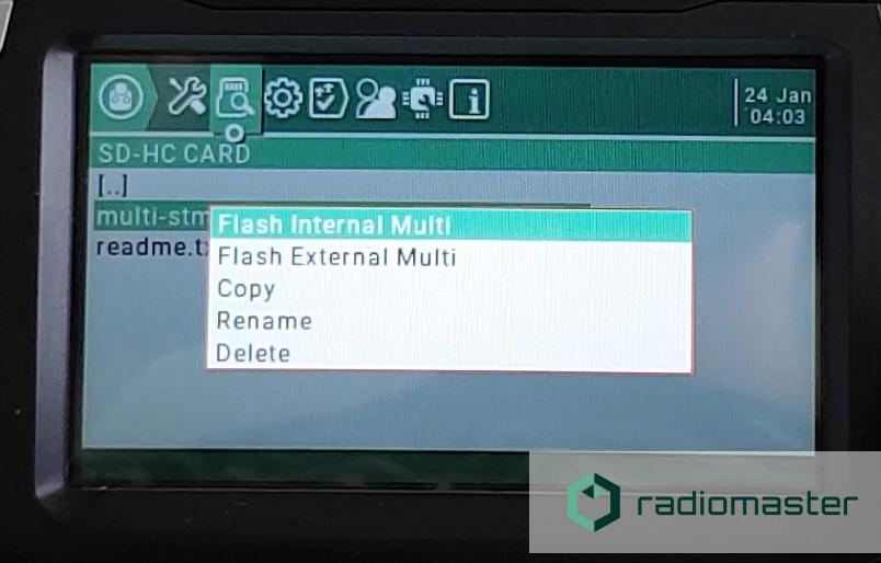 Flash the internal multi module